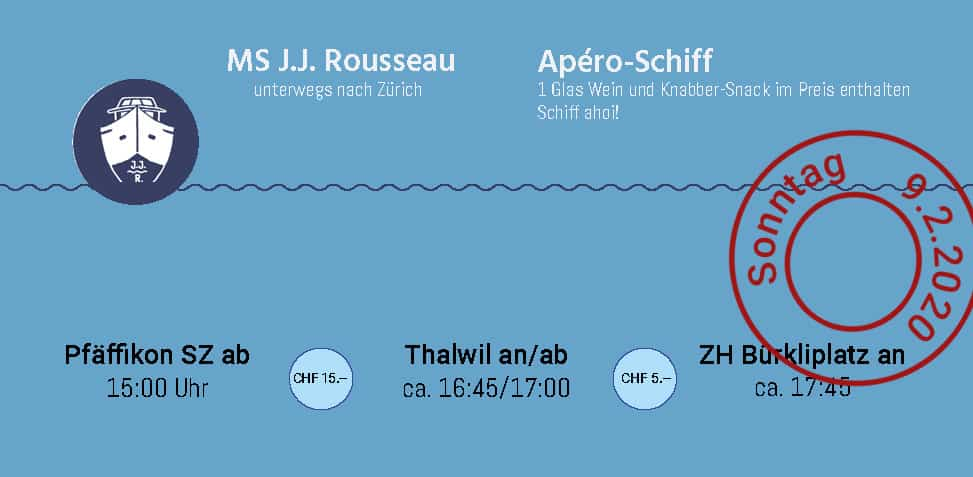 MS J.J. Rousseau auf dem Zürichsee